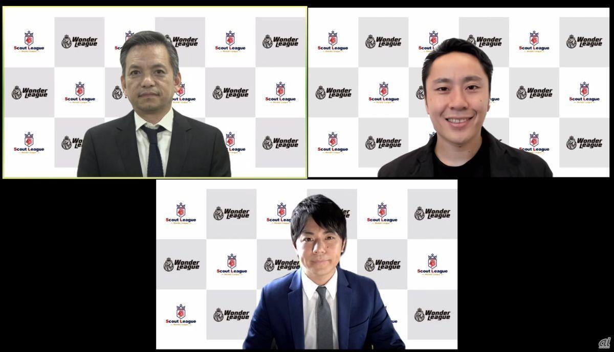 オンラインで行われた発表会では、eスポーツキャスターとして知られる平岩康佑氏(下段中央)の司会進行のもと、日本フェンシング協会会長の太田雄貴氏(上段右)と北村氏との対談も行われた