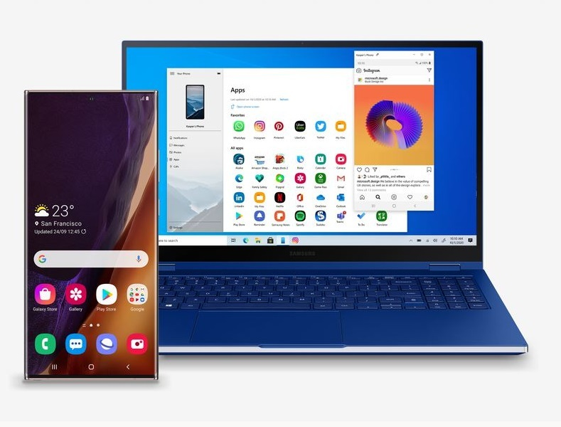 Operate Galaxy apps with Windows 10 smartphone sync [Source: Microsoft]