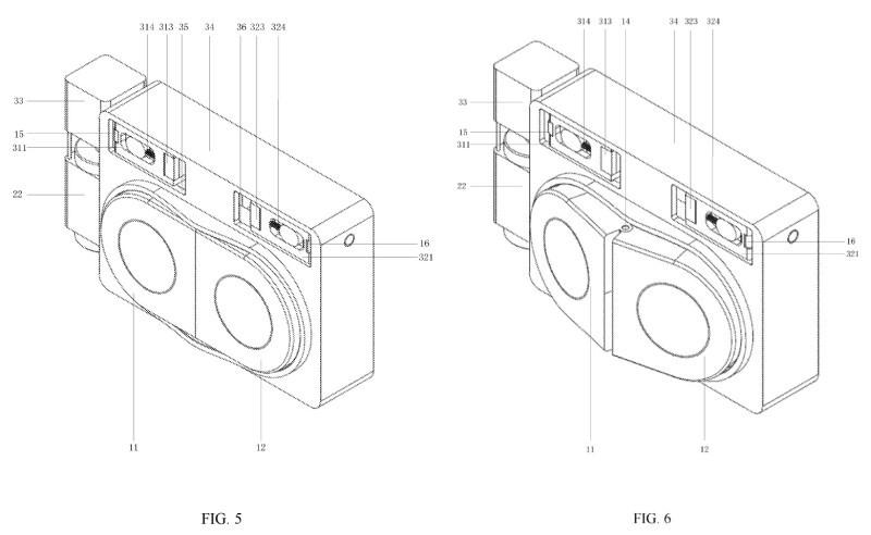 両カメラモジュールの向きを、反対方向へ広げるように変える(出典:USPTO)