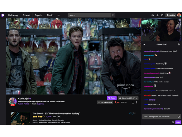 Twitch、Amazon Prime Videoをみんなで視聴できる「Watch Party」を正式リリース