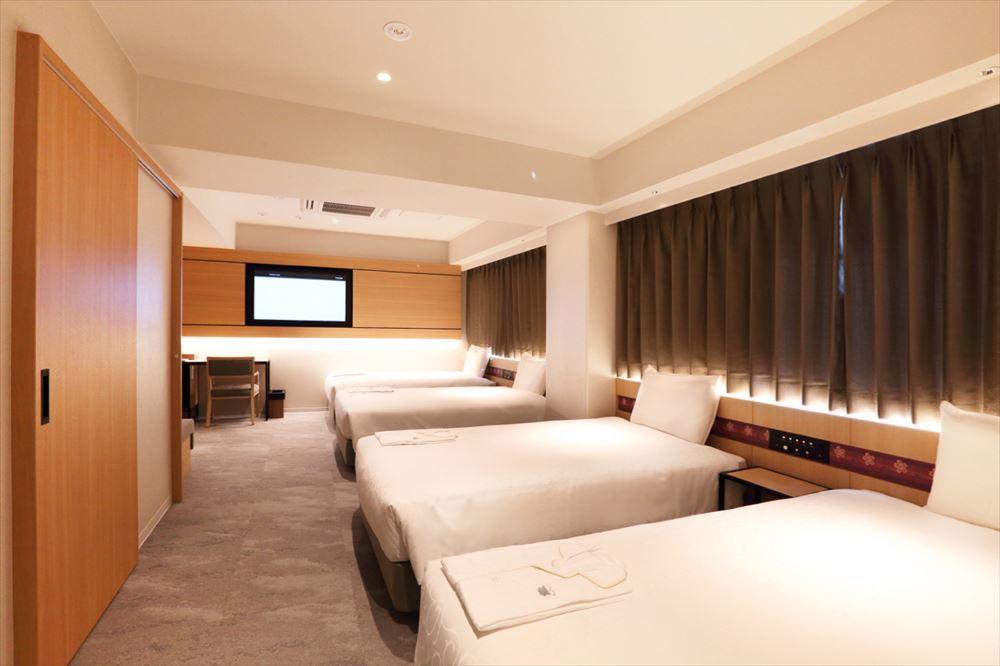 グループや家族で泊まれるフォースルーム(4ベッド)がある。