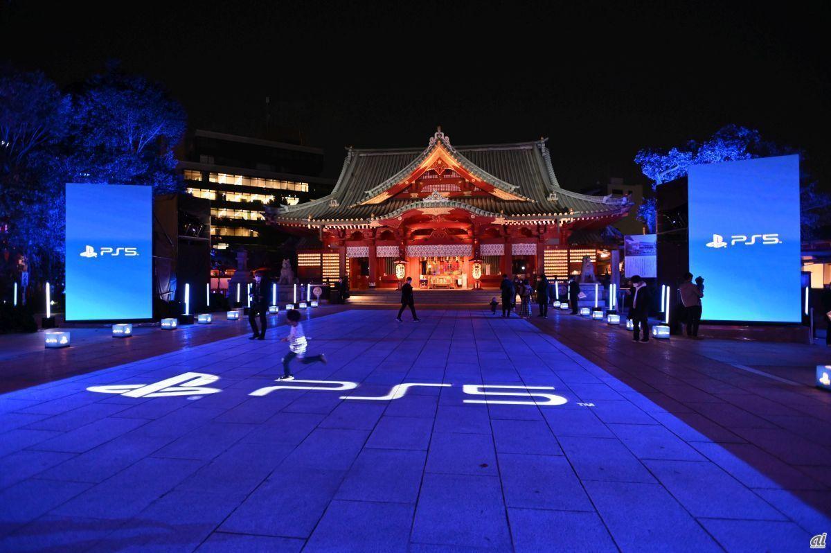 「PlayStation 5」発売記念の神田明神ライトアップ