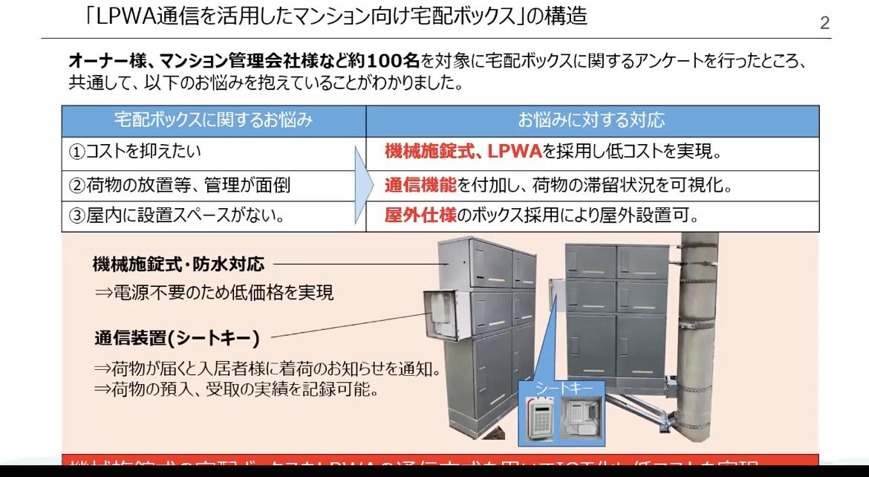 LPWA通信を活用したマンション向けの宅配ボックスを開発