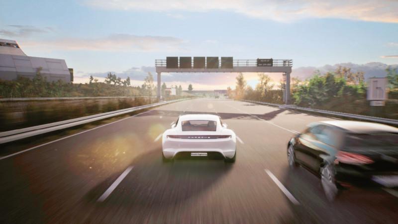 仮想空間の高速道路を走る「Taycan」(出典:Porsche Engineering)