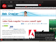 Adobe Flash evangelist: 'Go screw yourself Apple' | Web Crawler - CNET News