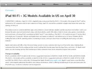 iPad Wi-Fi + 3G Models Available in US on April 30