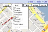 「Google Maps」に「Google Buzz」が新しいレイヤとして追加された。