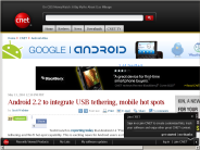 Android 2.2 to integrate USB tethering, mobile hot spots | Android Atlas - CNET Blogs