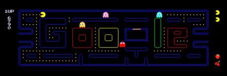 Googleは「パックマン」30周年を記念して、同社初のインタラクティブでプレイ可能なカスタムトップページロゴ(Doodle)を作成した。この画像は、Googleトップページでプレイ中のゲームのスクリーンショット。