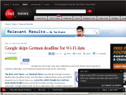 Google skips German deadline for Wi-Fi data | Relevant Results - CNET News