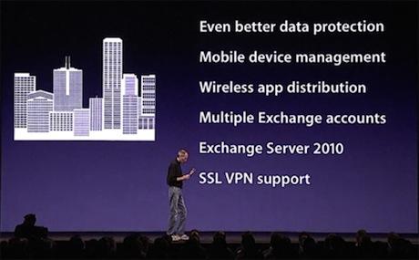 iPhone 4について説明するJobs氏