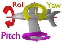 物体の中心から見た3次元の回転の角度は、ピッチ、ロール、ヨーとして知られている。