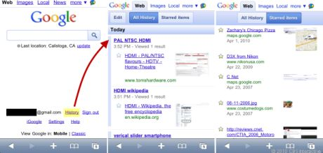 モバイル向けに最適化されたGoogleの検索履歴ページでは、別のデバイスで訪れたページやブックマークしたページも確認できる。