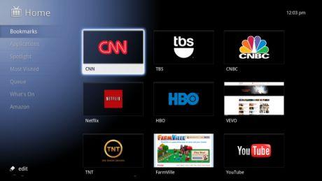 Google TVのホーム画面。ユーザーはテレビとウェブを切り替えられるほか、ウェブベースのアプリケーションも実行できる。