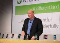 Microsoftの最高経営責任者(CEO)であるSteve Ballmer氏。ニューヨークで11日に開催のWindows Phone 7発表イベントを取り仕切った。