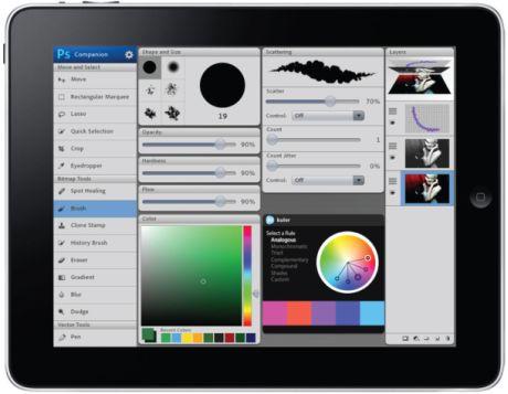 Adobeのこのモックアップは、iPadのコンパニオンアプリケーションを表示している。これを使って、無線ネットワークで接続された従来型のコンピュータ上のPhotoshopを操作できる。