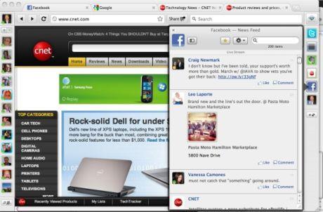RockMeltは「Facebookブラウザ」と呼ばれており、それにはもっともな理由がある。2つのダッシュボードバーを備えており、左側のバーはオンライン状態にあるFacebookの友達を表示し、右側のバーでは各種ソーシャルサービスやRSSフィード、プラグインの機能を利用できる。