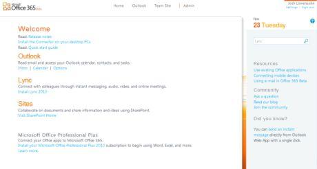 Office 365のホームスクリーン。Outlookやチームの「Home Site」へと移動できる。