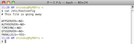 消え行く運命の設定ファイル「/etc/hostconfig」。Lionでは予定どおり削除されるか