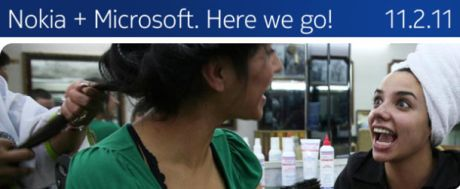 Microsoftとの提携を知らせるNokiaのウェブサイト
