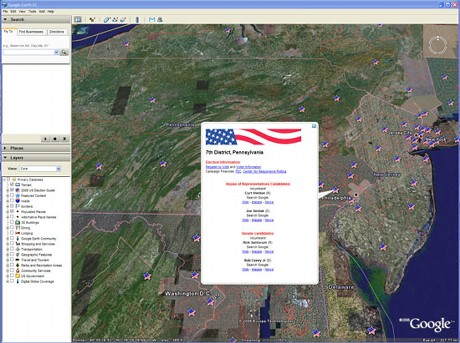 The Google Earth 2006 election resource tool