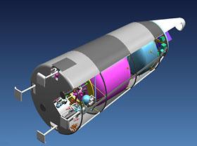 繰り返し100回使える小型観測ロケットの想像図