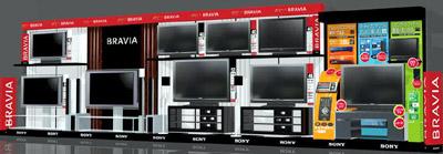ソニーの提案型商品ブースのイメージ。薄型テレビとBDレコーダーを併せて展示