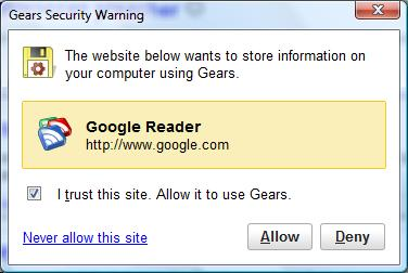 Google Gears Security Warning