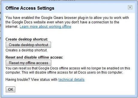 Google Gears Offline Access Settings