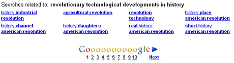 「revolutionary technological developments in history」で検索した場合の検索候補ワード