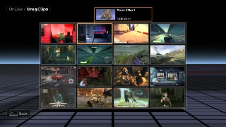 OnLiveシステムは、「brag clips」と呼ばれるソーシャル機能を含み、ゲームのアクションを15秒間リプレイできる。