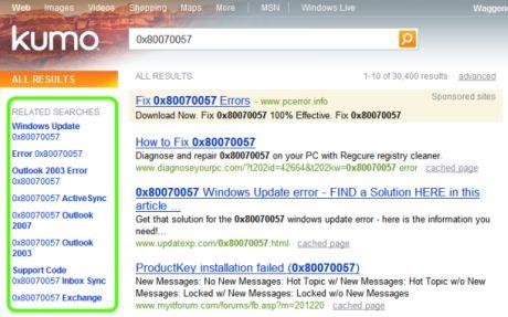Bing(これまでの開発コード名は「Kumo」で、この画像に写っているもの)は便利な「Related Searches」(関連検索)ボックスを表示する。