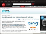 Kayak broadside hits Microsoft's search redesign | Webware - CNET
