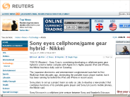 Sony eyes cellphone/game gear hybrid - Nikkei | Technology | Reuters
