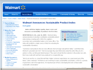 Wal-Mart Stores, Inc. - Walmart Announces Sustainable Product Index