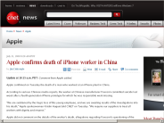 Apple confirms death of iPhone worker in China | Apple - CNET News