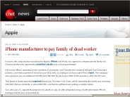 iPhone manufacturer to pay family of dead worker | Apple - CNET News