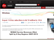Report: WiMax subscribers to hit 50 million by 2014 | Wireless - CNET News