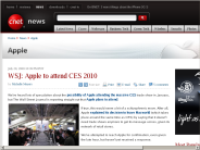 WSJ: Apple to attend CES 2010 | Apple - CNET News