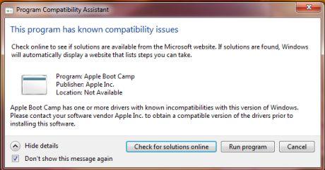 Boot Camp 2.1では、互換性に問題があるとのメッセージが表示されるが、Windows 7で問題なく動作する。ただし、インストール後にWindows Updateを実行する必要がある。