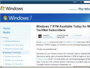 Windows 7 RTM Available Today for MSDN & TechNet Subscribers - Windows 7 Team Blog - The Windows Blog