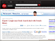 Report: Google near Book Search deal with French library | Relevant Results - CNET News