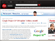 Google Project 10^100 update 'within a month' | Relevant Results - CNET News