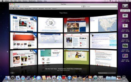 Top Sites機能は、Safari 4で既に利用可能になっており、最も頻繁に訪問するサイトにすばやく移動できる。