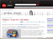 Windows 7 to get New York launch | Beyond Binary - CNET News