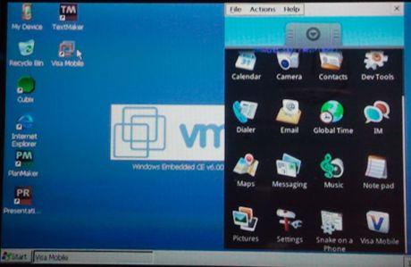 VMwareは、同社仮想化ソフトウェアを使って、「Windows CE 6.0」を使用している携帯電話でGoogleの「Android」OSも実行できることを示した。