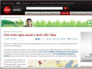 First Solar signs massive deal with China | Green Tech - CNET News