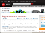Bing grabs 10 percent of search market | Microsoft - CNET News