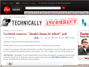 Facebook removes 'Should Obama be killed?' poll | Technically Incorrect - CNET News