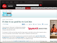 It's time to say good-bye to GeoCities | Webware - CNET